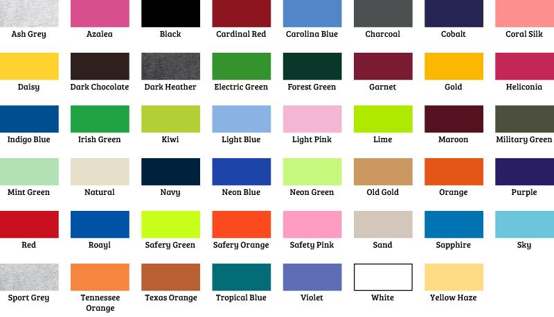 Gildan 5000 Color Chart Rebellions